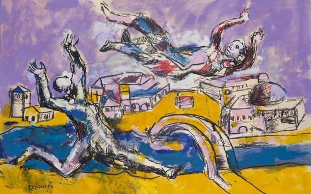 Dario-Fo-Bella-rincorsa-nell'aria-2015.-Tecnica-mista-su-tavola-90x60-cm.-Archivio-Franca-Rame-e-Dario-Fo-620x388